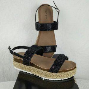Torrid Platform Sandals Black Rhinestones Shoes